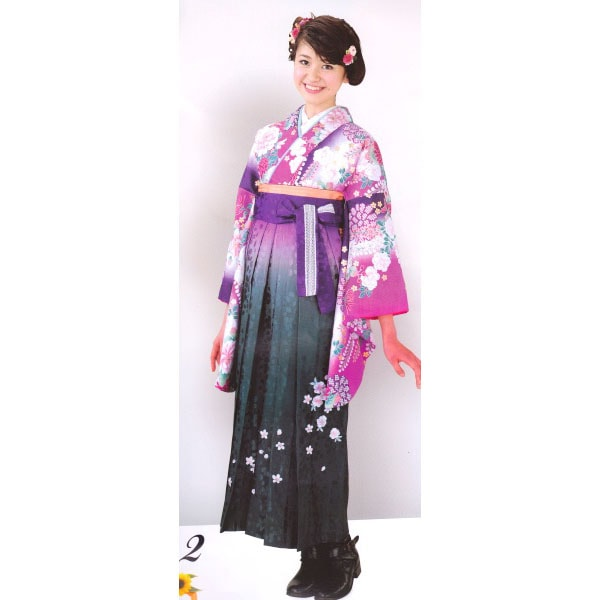 HL2016ピンク地二尺袖とHL紫グラデーション袴