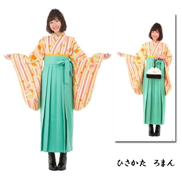 袴No.100-148|ひさかたろまん|最新作|クリーム・縦縞薔薇二尺袖|紺地袴