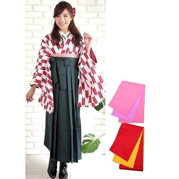 袴No.100-149|新品・矢絣|矢羽根|赤|濃い緑刺繍袴