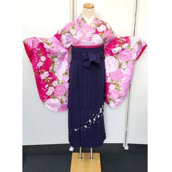 京都|ピンク二尺袖牡丹柄|No.100-153