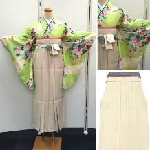 袴セット|綺麗な若草色・上品な小花柄|先生にいかがでしょうか|ワンランク上の絵羽柄|結婚式|卒業式|最安値|No.100-155