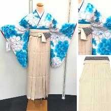 袴セット|白地・綺麗な大輪の青みの水色牡丹柄二尺袖&紺地又は、ベージュ地袴変更OK|No.100-156