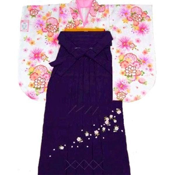 133HL白地着物刺繍袴フルセット