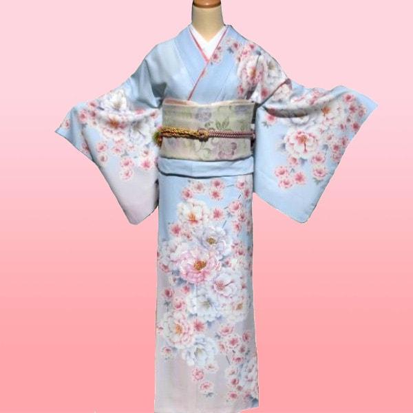 訪問着|京都・高級水色大輪の花刺繍|フルセットNo.200-43