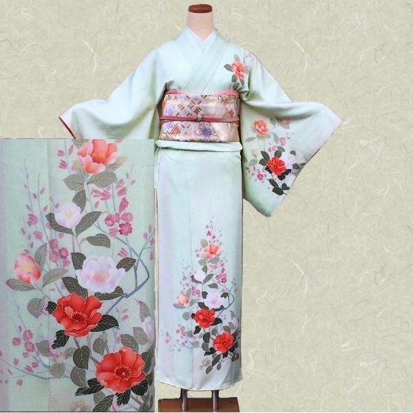 訪問着|京都・綺麗な若草朱花|フルセットNo.200-47