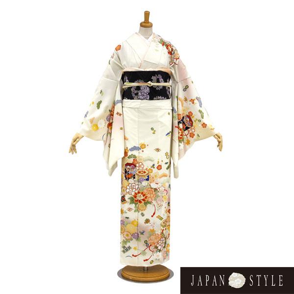 訪問着|ブランドJapanstyle新作淡いクリーム貝桶柄|フルセットNo.200-50