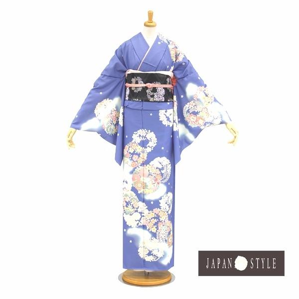 訪問着|花わらべ・水色大輪の花刺繍|フルセットNo.200-43
