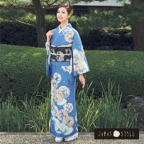 訪問着No.200-53|Japanstyle|最新作|青地|藤の花|花丸紋柄