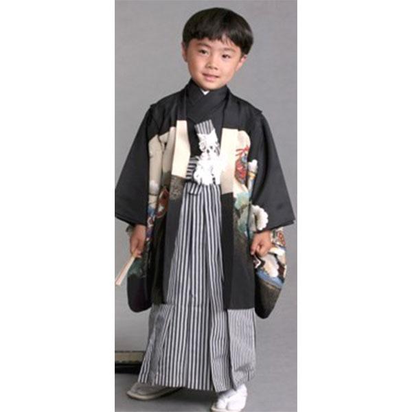 七五三|5歳|黒地・縦縞袴No.508