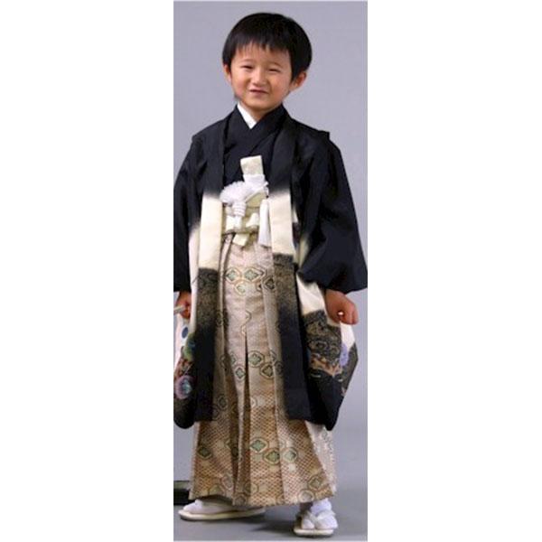 七五三|五歳|着物も羽織も人気の凛々しい黒地・袴は柄袴No.514