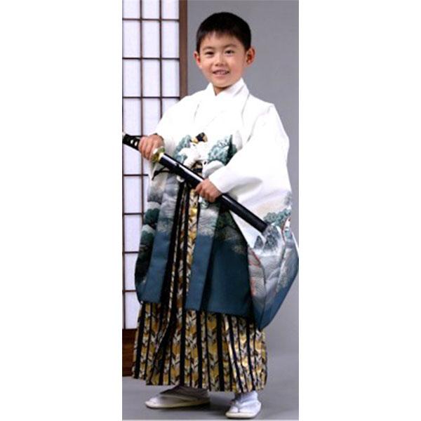 七五三|5歳|白地着物羽織・柄袴・上質|No.519