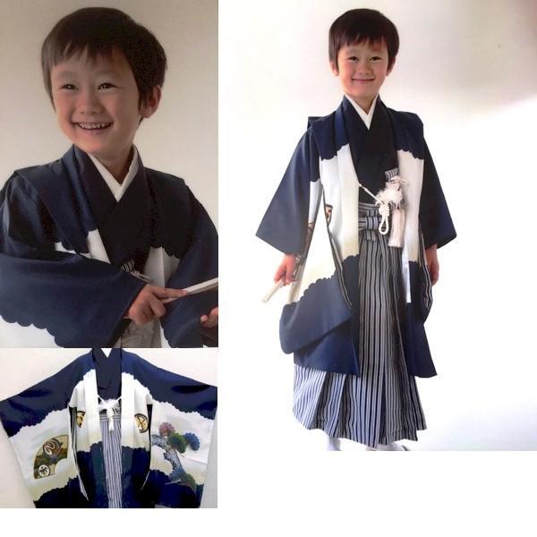 七五三|五歳|紺地着物・羽織|縦縞袴|No.522