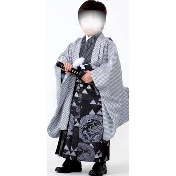 七五三|五歳|着物・黒地地模様あり|羽織・優しいグレー地模様入|柄袴No.528