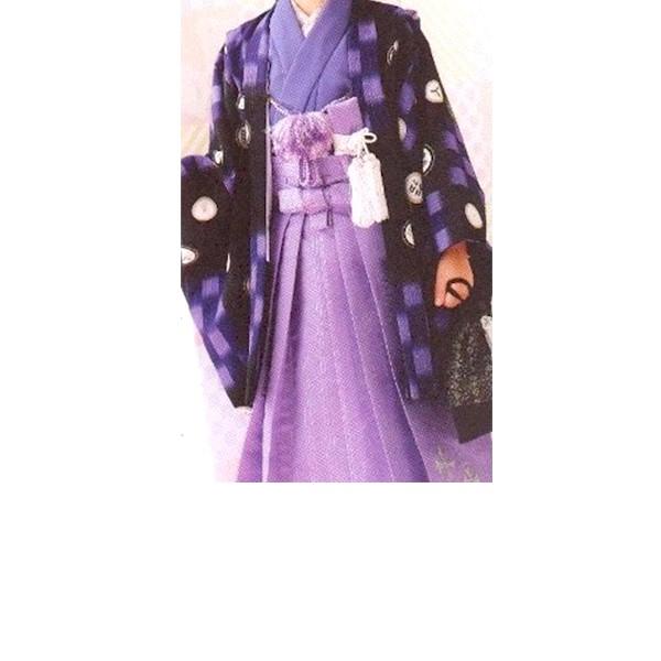 七五三|五歳|乙葉ブランド|着物:淡い紫|羽織:濃い紫|柄袴|No.529
