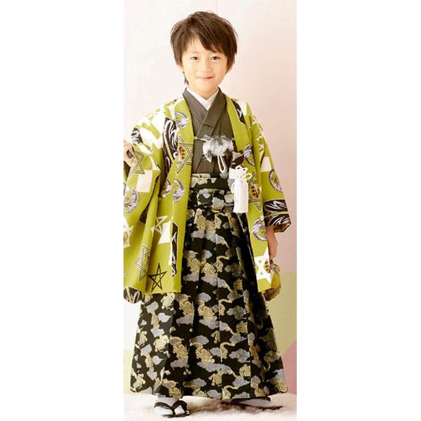 七五三|5歳|着緑地着物・おしゃれ・上質|柄袴|No.560