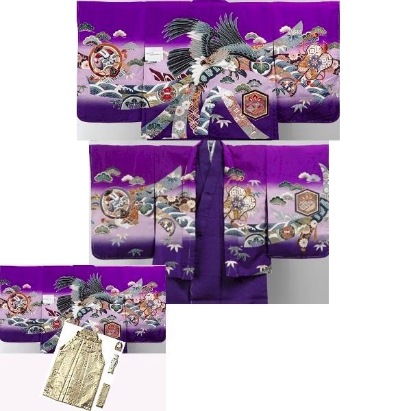 七五三|五歳|新品同様|京都|紫着物羽織|柄袴|No.561