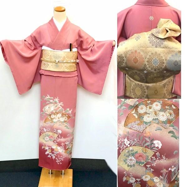 色留袖|ピンク暈し・金糸|新品600-10i