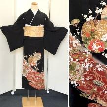 黒留袖|正絹|単衣6月・9月着用|刺繍・扇子|小物フルセット無料No.600-11