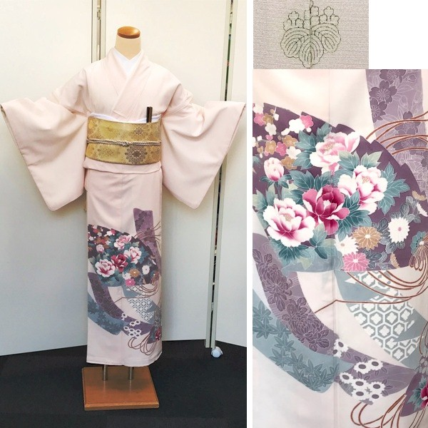 色留袖|淡いピンク|扇|No.600-14i