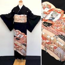 黒留袖|扇・四季の花・鶴・宝尽くしNo.600-15