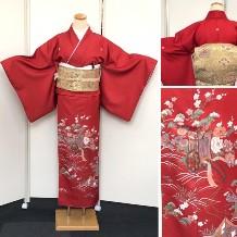 色留袖 綺麗な赤 御所車・花 No.600-15i