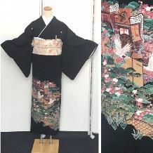 黒留袖|正絹・化繊混紡|御所車・鶴・松|小物フルセット無料No.600-16