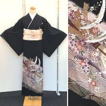黒留袖|巾広サイズ|腰回り120cm位の方OK|藤色|小物フルセット無料No.600-17