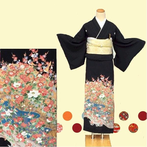 黒留袖No.600-6|京加賀友禅|椿・綺麗な花鳥柄