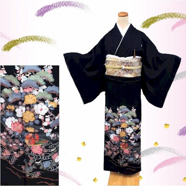 黒留袖|金彩・松・椿No.600-8