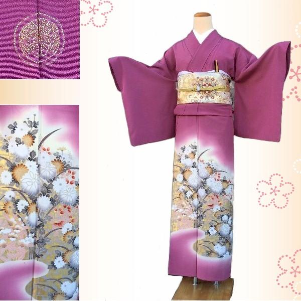 色留袖|赤紫|金彩・霞・花600-8i