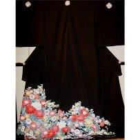 黒留袖No.629|京友禅|大輪の四季の花々