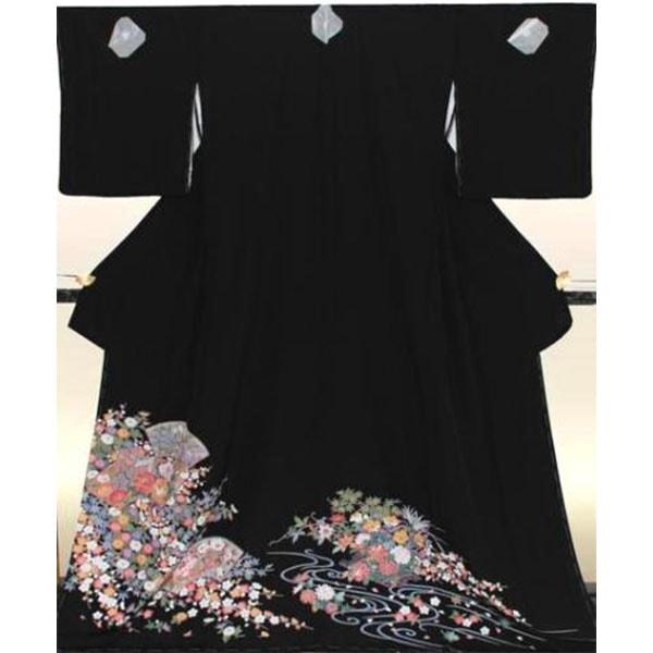 黒留袖No.681|京友禅|季節の花々御所車柄|トールサイズ