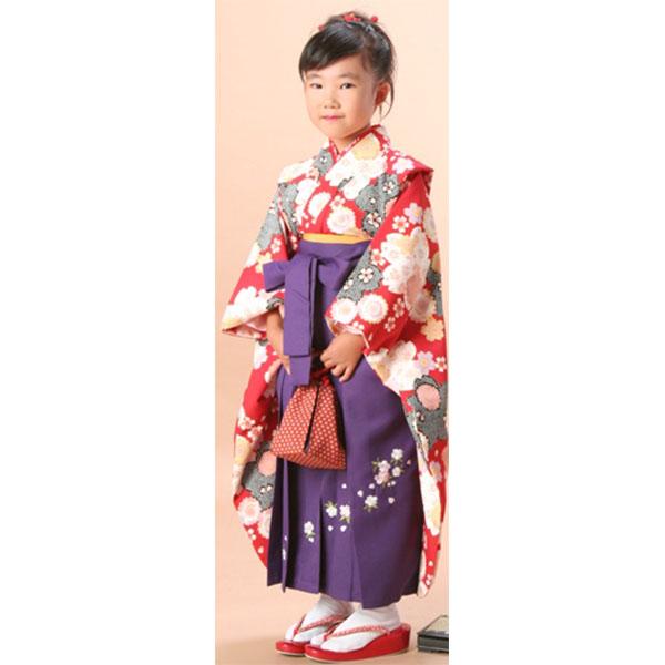 卒園式袴|赤絞り柄/紫刺繍袴737h