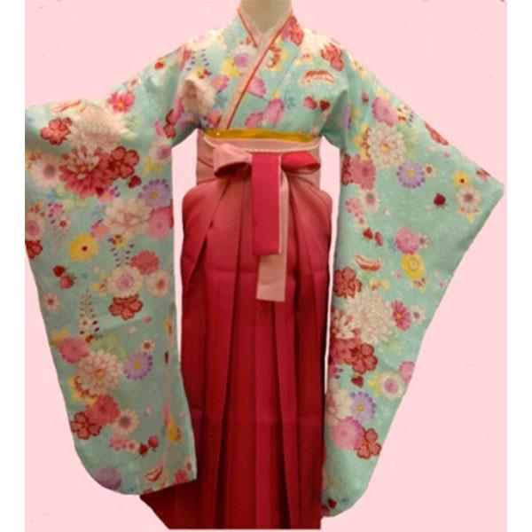 卒園式袴|水色・小花柄742h