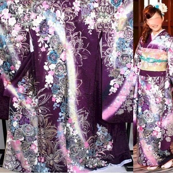 振袖|桂由美|紫地刺繍No.800-1