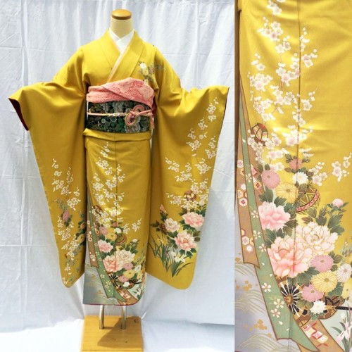振袖No.800-47|正絹|京友禅|綺麗な金茶|牡丹|桜|上品
