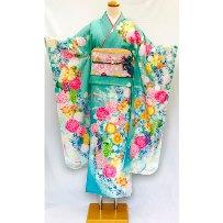 振袖No.800-51|京友禅|最新作|エメラルドグリーン・裾水色花柄
