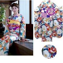 ふりそでNo.800-52|和遊日|最新作|人気の水色地・椿・大輪の花柄