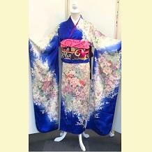振袖|正絹|ロイヤルブルー・花籠|京友禅No.800-61