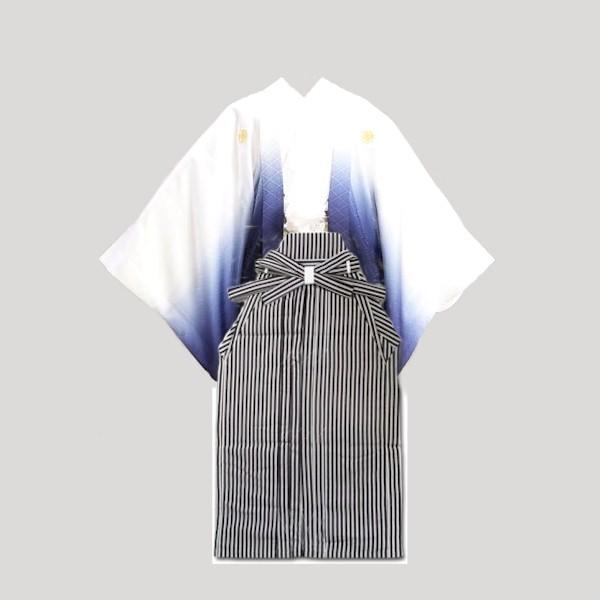 紋付き袴|色焼け有値下|白地紺グラデ・縦縞袴No.905