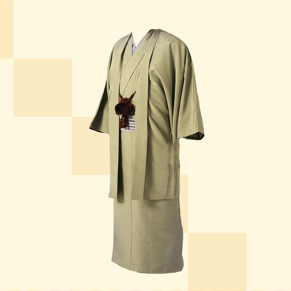 散策プラン|男性着物レンタル||No.922sansaku|着物草色・紬調